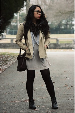 black combat H&M boots - off white Uniqlo dress - puce American Eagle scarf