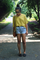 sky blue striped Forever 21 shorts - black UNIF flats