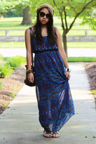 navy sheer Forever 21 dress - mustard Forever 21 hat - dark brown coach bag