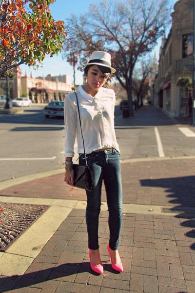 ivory sheer H&M shirt - navy SM jeans - eggshell fedora Forever 21 hat