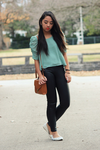 aquamarine Forever 21 top - black pleather H&M pants