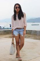 light pink Forever 21 shirt - sky blue Forever 21 shorts