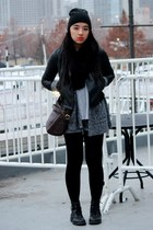 black combat H&M boots - black H&M hat - black leather Zara jacket
