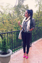 heather gray leather jacket - white Forever 21 scarf