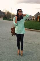 aquamarine H&M sweater - tawny Vanity bag - black Forever 21 pants