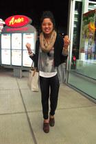 black Forever 21 blazer - camel vintage scarf - black pleather Forever 21 pants