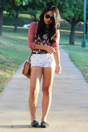 maroon beatles Forever 21 shirt - white cotton TJ Maxx shorts