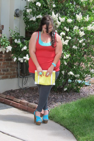 yellow BCBG bag - aquamarine Jessica Simpson heels - light orange BCBG top
