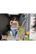 torrid jeans - lace top Target blouse - floral bustier American Rag top