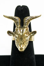gold goat head ring Number A ring