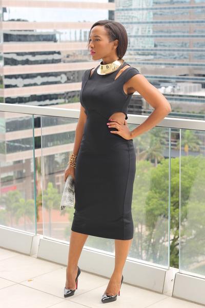 black cutout asos dress - black patent leather Christian Louboutin heels