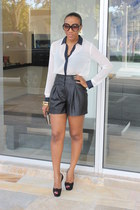 Forever 21 blouse - leather pleated rachel roy shorts
