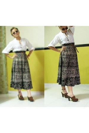 Newlook clogs - Forever 21 blouse - accessories - glasses - skirt