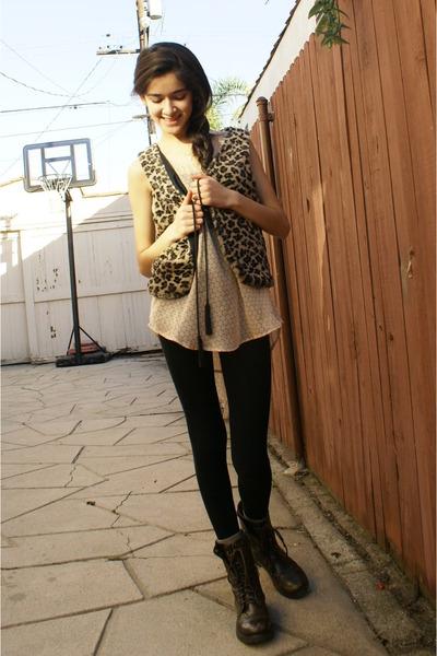 vest - boots - leggings - socks - blouse