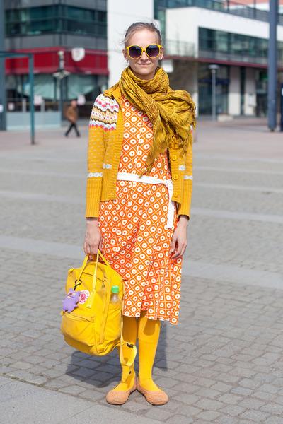 orange dress - yellow scarf - yellow bag - yellow sunglasses - light orange flat