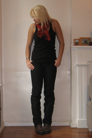Zara scarf - Urban Outfitters top - simply vera wang jeans - Frye Boots shoes