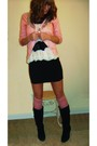 Pink-f21-cardigan-black-delias-boots-white-arden-b-top