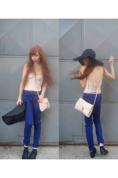 black H&M shoes - black H&M hat - neutral H&M bag - SIX necklace - ivory H&M top