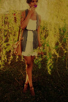 white American Eagle dress - brown JCP purse - brown thirfted belt