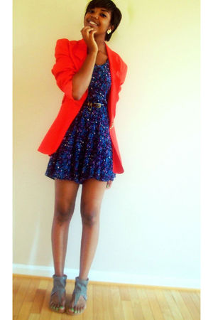 silver Forever 21 shoes - red thrifted blazer