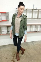 army green Forever21 jacket - brown gojanecom boots