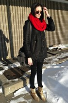 gold Aldo boots - red Ebay scarf - heather gray Forever 21 bag