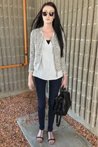 black Matt & Nat bag - white H&M jacket - white Zara blouse