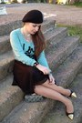 Black-achilleas-accessories-hat-light-blue-bershka-sweater