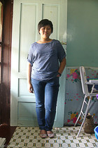 blue polka dots Bayo blouse - navy bench jeans - light pink ribbon Reva flats