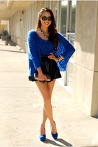 blue Sheinside sweater - black PacSun skirt - blue pink and pepper heels