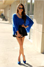 Blue-sheinside-sweater-black-pacsun-skirt-blue-pink-and-pepper-heels