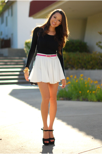 white romwe skirt - black H&M top - pink OASAP belt - black Steve Madden heels
