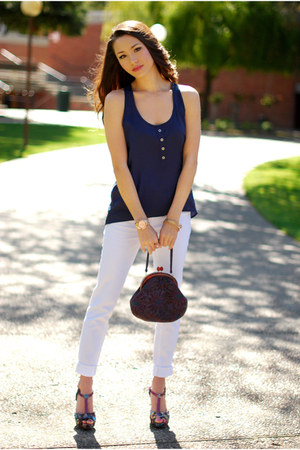 navy LYLIF top - white JBrand jeans - purple Aldo heels