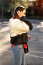 Black-faux-fur-line-and-dot-coat-blue-h-m-jeans-red-chiffon-rieley-shirt