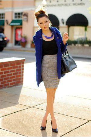 navy Rosy Ruby coat - silver Bebe skirt - navy Lulu-Le necklace
