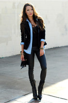black Bebe boots - black PacSun leggings - sky blue Sheinside shirt