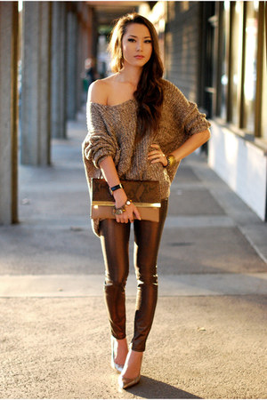 light brown Similar jumper - light brown Similar bag - gold Similar heels