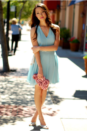 aquamarine chiffon In Love with Fashion dress - pink rosette lulu townsend bag