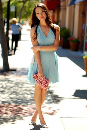 aquamarine chiffon In Love with Fashion dress - pink rosette lulu townsend bag