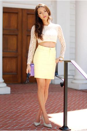 cream Motel Rocks top - amethyst romwe purse - light yellow Motel Rocks skirt