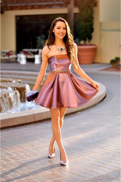 854f05b4912 coral Topshop dress - purple bag - neutral heels