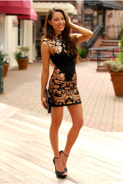 brown Clothes Envy dress - black Aldo heels
