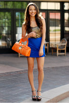 blue Love Shopping Miami skirt - orange vivilli bag - tan Steve Madden heels