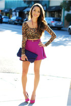 magenta MinkPink skirt - purple Heather Belle Co bag - hot pink Aldo heels