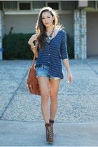 navy Minted Republic sweater - brown Jessica Simpson boots - bronze Chicwish bag