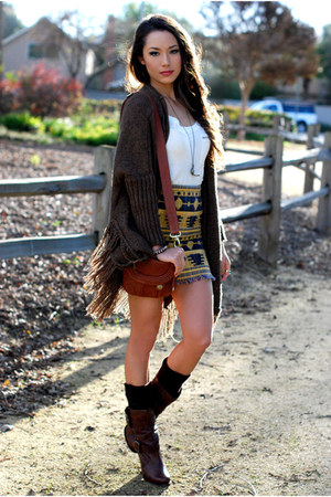 mustard awwdore skirt - light brown Choies sweater