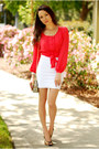 Coral-chiffon-forever-21-top-white-bandage-bebe-skirt