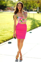 bubble gum lavish alice top - gold Aldo bag - hot pink H&M skirt