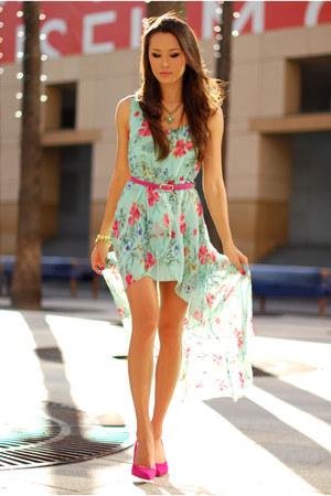 pink Aldo heels - aquamarine Shei dress - pink OASAP belt