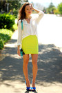 Chartreuse-forever-21-skirt-white-old-navy-top-blue-zara-heels